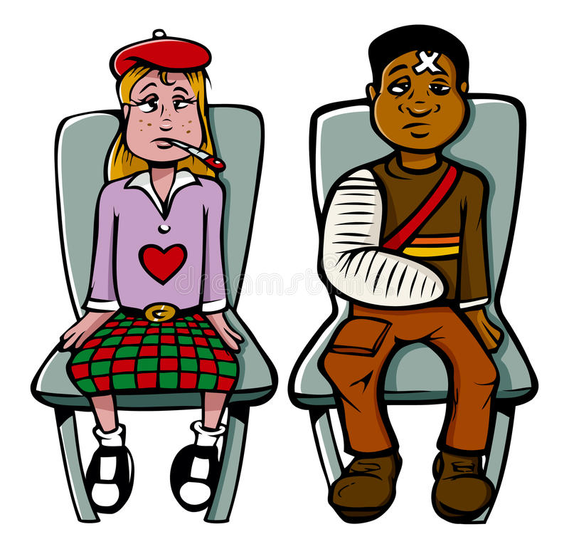 Download Sick girl boy stock vector. Image of waiting, black, illness - 12966082