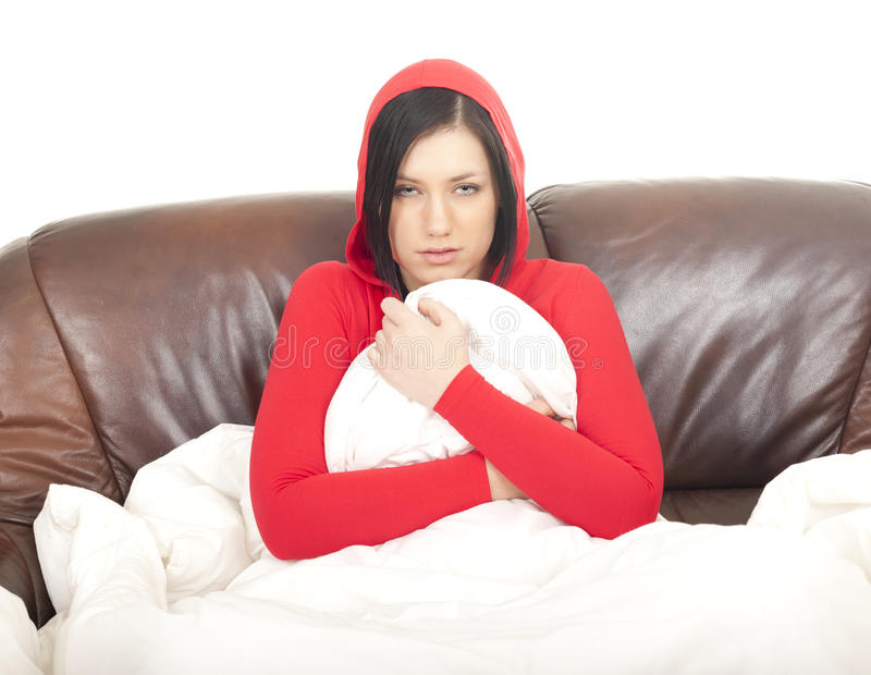 Download Sick girl with cold stock image. Image of melancholy - 23805877