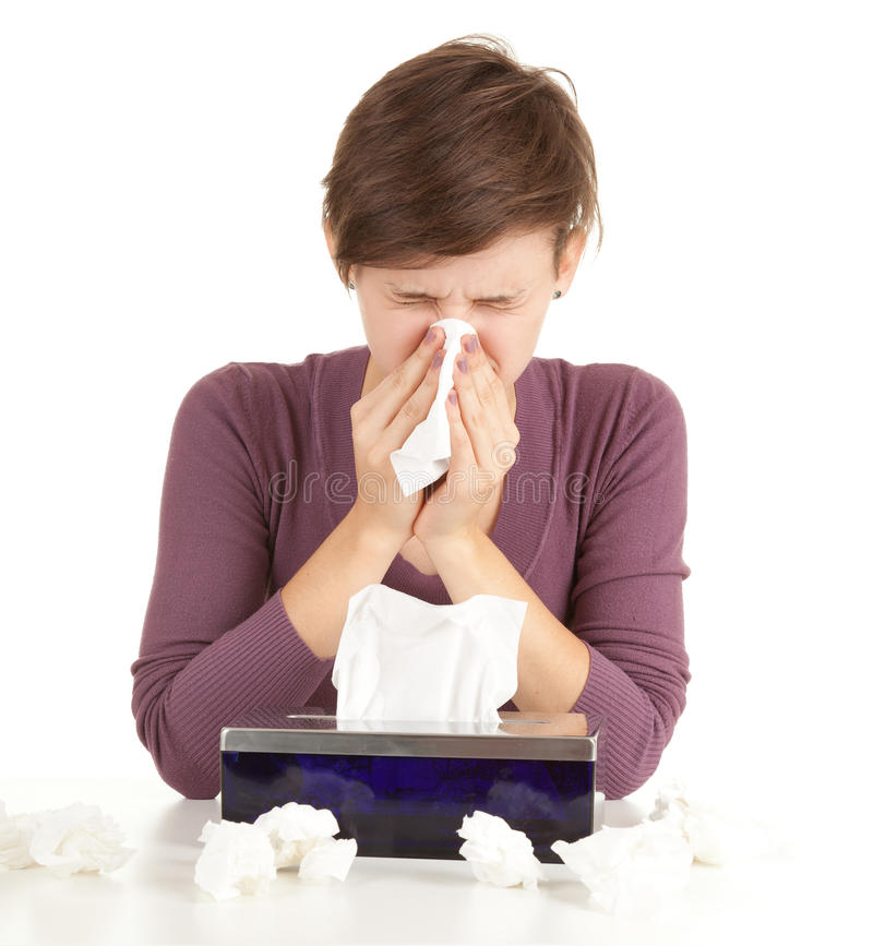 Download Sick Girl With Flu Blowing Her Nose Stock Photo - Image: 21290450