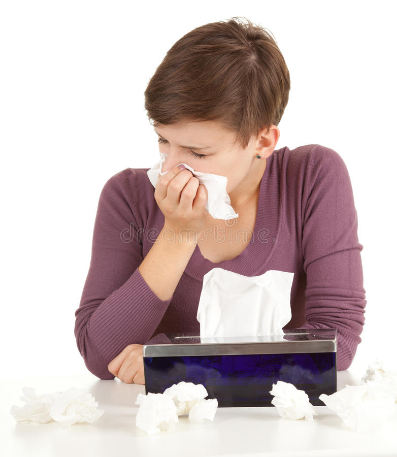 Download Sick Girl With Flu Blowing Her Nose Stock Photo - Image: 21290468