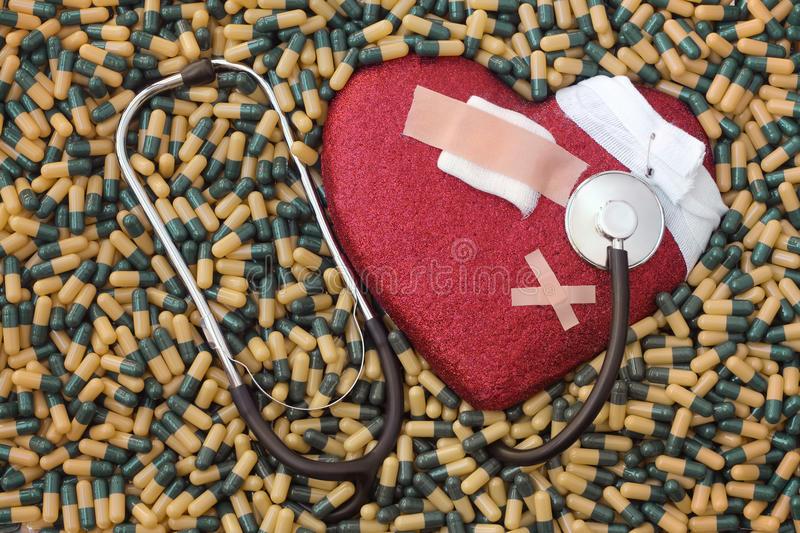 Heart sick, infarct and cure stock images