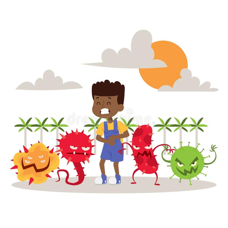 Sick, ill child with microbes banner vector illustration. Cartoon viruses. Bad microorganisms for children. Bacteria royalty free illustration