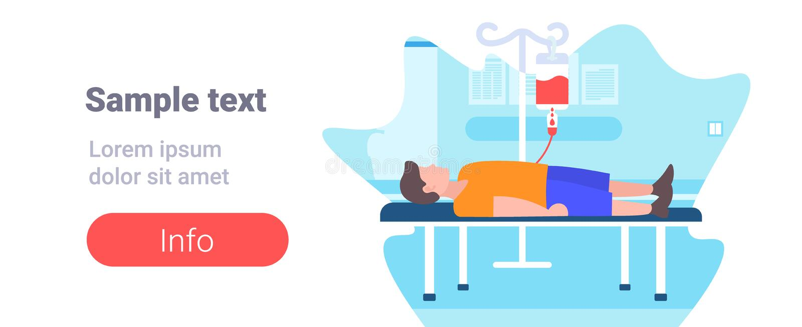 Sick injured patient lying in medical bed with dropper healthcare concept clinic ward hospital interior flat horizontal vector illustration
