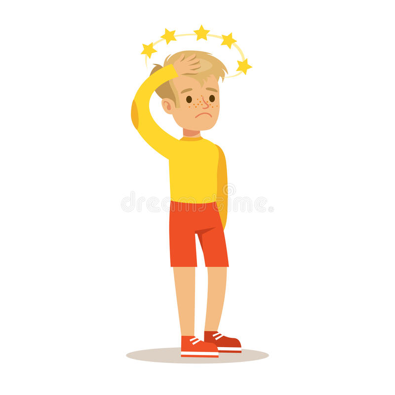 Sick Kid With Concussion And Stars Before Eyes Feeling Unwell Suffering From Injury Needing Healthcare Medical Help. Cartoon Character. Ill Child With Health stock illustration