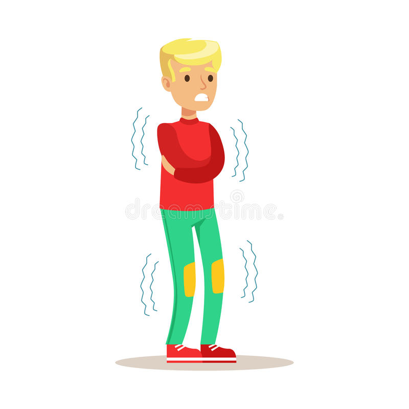 Sick Kid Shivering Feeling Unwell Suffering From Cold Sickness Needing Healthcare Medical Help Cartoon Character stock illustration