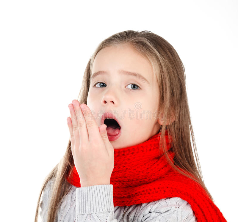 Sick little girl in red scarf coughing. Isolated on a white background royalty free stock image