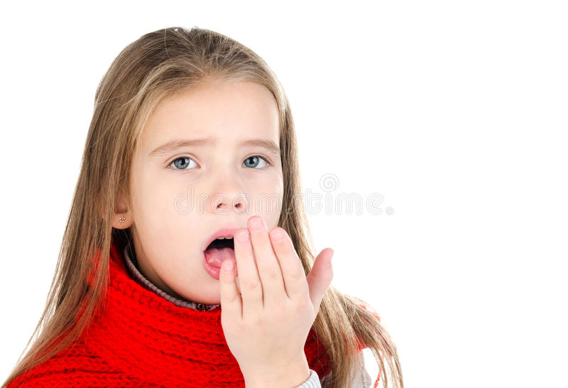 Sick little girl in red scarf coughing isolated stock photos