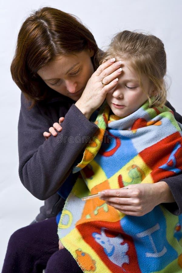 Sick little girle stock image