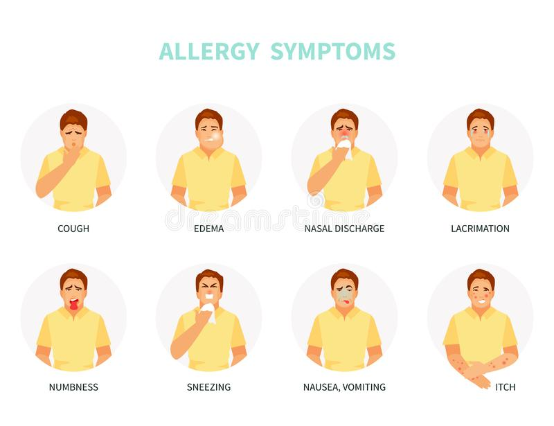 Allergy symptoms vector stock illustration