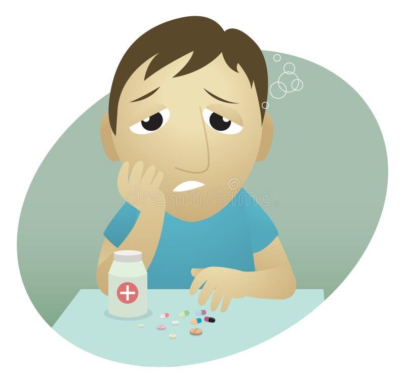 Sick man vector illustration