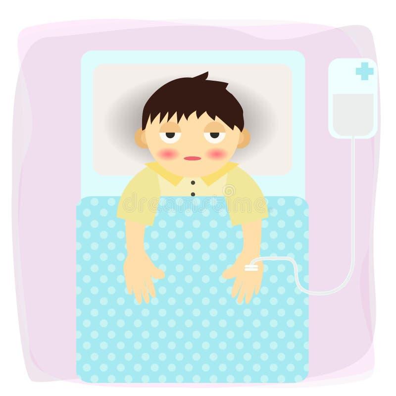Sick Man Admit In Hospital Cartoon - Vector stock illustration
