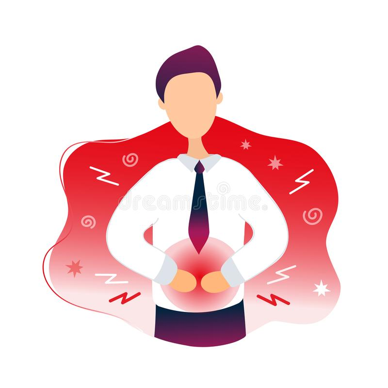 Sick man having stomachache, food poisoning. Diarrhea.Vector flat modern trendy style illustration character icon.Man with stomach disease, digestive tract stock illustration