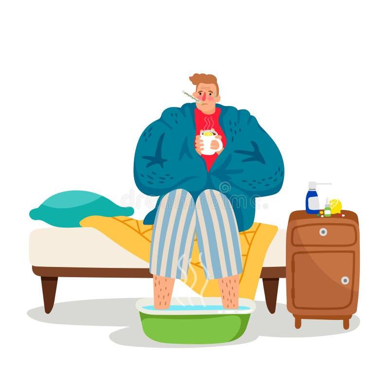 Sick man icon vector illustration