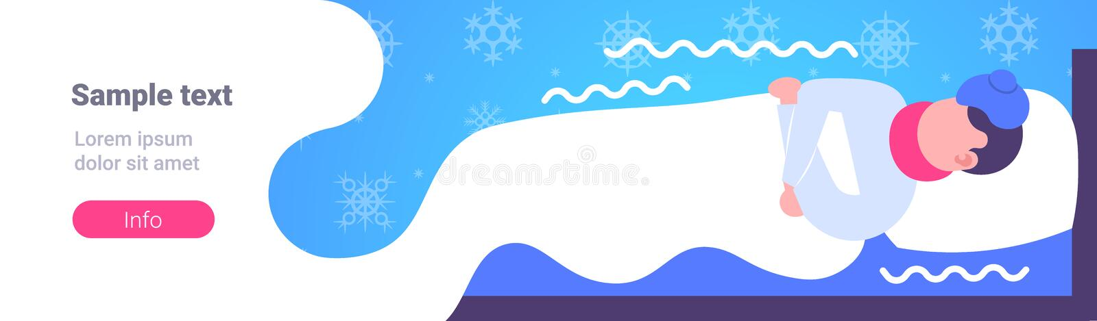 Sick man lying covered with blanket in bed at home ill man having flu virus freezing illness concept horizontal copy. Space vector illustration vector illustration