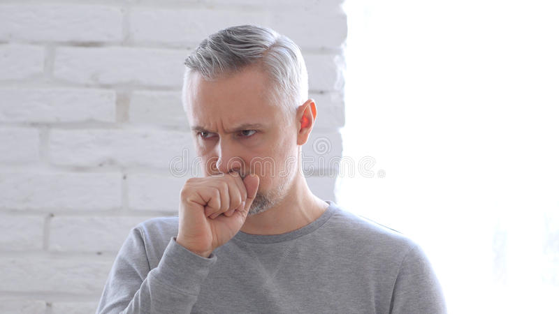 Sick Middle Aged Man Coughing, Cough stock images