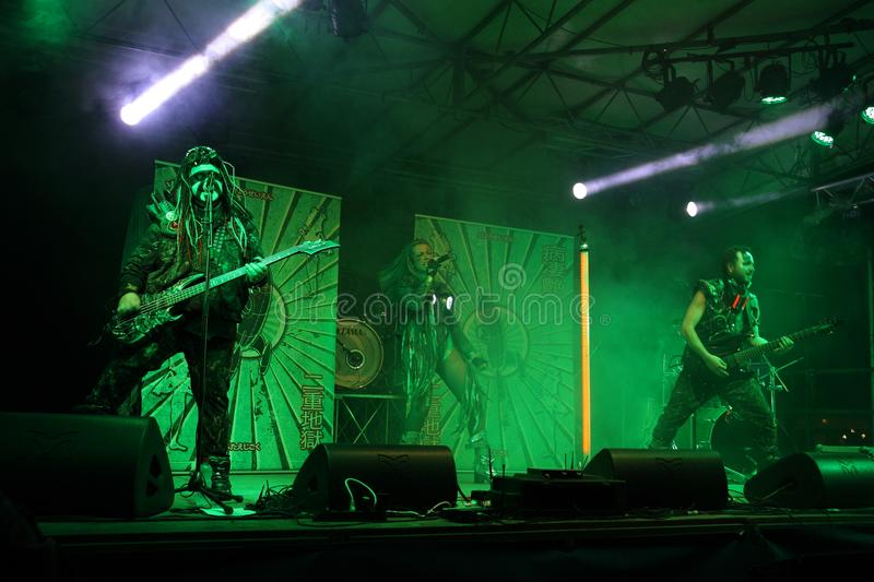 Sick N `Beautiful concert. SICK N` BEAUTIFUL is a gang of rockin` freakshow pirates from outer space! Industrial hard rock with a jolt of metal and electropop stock photography