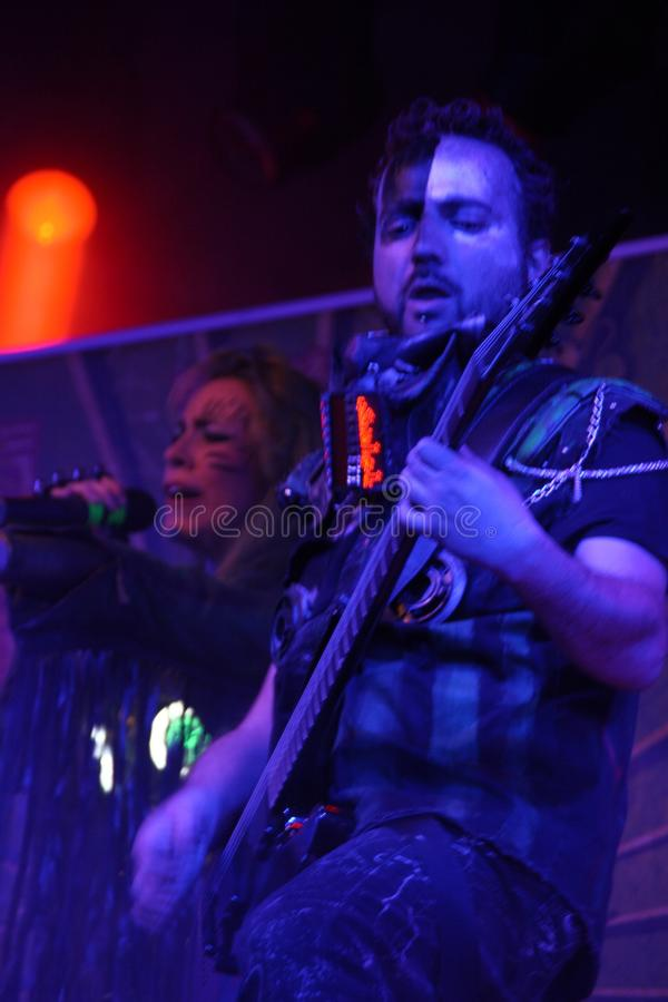 Sick N `Beautiful concert. SICK N` BEAUTIFUL is a gang of rockin` freakshow pirates from outer space! Industrial hard rock with a jolt of metal and electropop royalty free stock photos