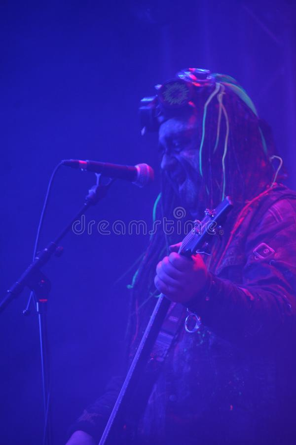 Sick N `Beautiful concert. SICK N` BEAUTIFUL is a gang of rockin` freakshow pirates from outer space! Industrial hard rock with a jolt of metal and electropop stock image