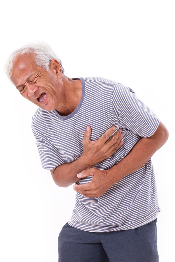 Sick old man suffering from heart attack or breathing difficulties. White isolated background royalty free stock photo