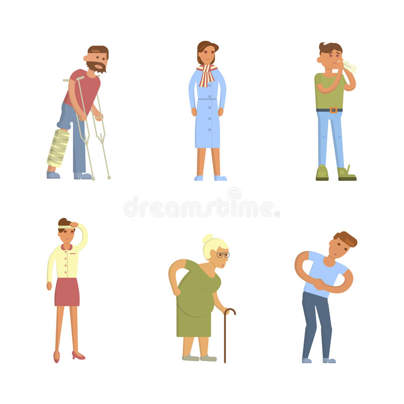 Sick people characters royalty free illustration