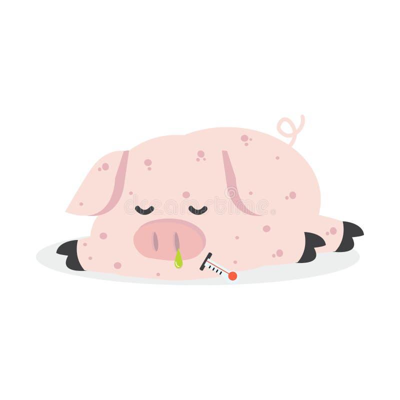 Sick Pig  Swine Flu royalty free illustration