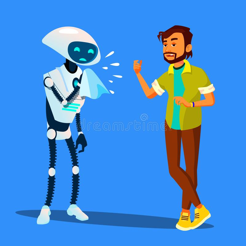 Sick Robot Sneezes At Scared Man Vector. Isolated Illustration royalty free illustration