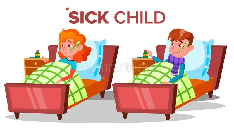 Sick Sad Child Girl, Boy Lies With Thermometer In Mouth Vector. Isolated Cartoon Illustration vector illustration