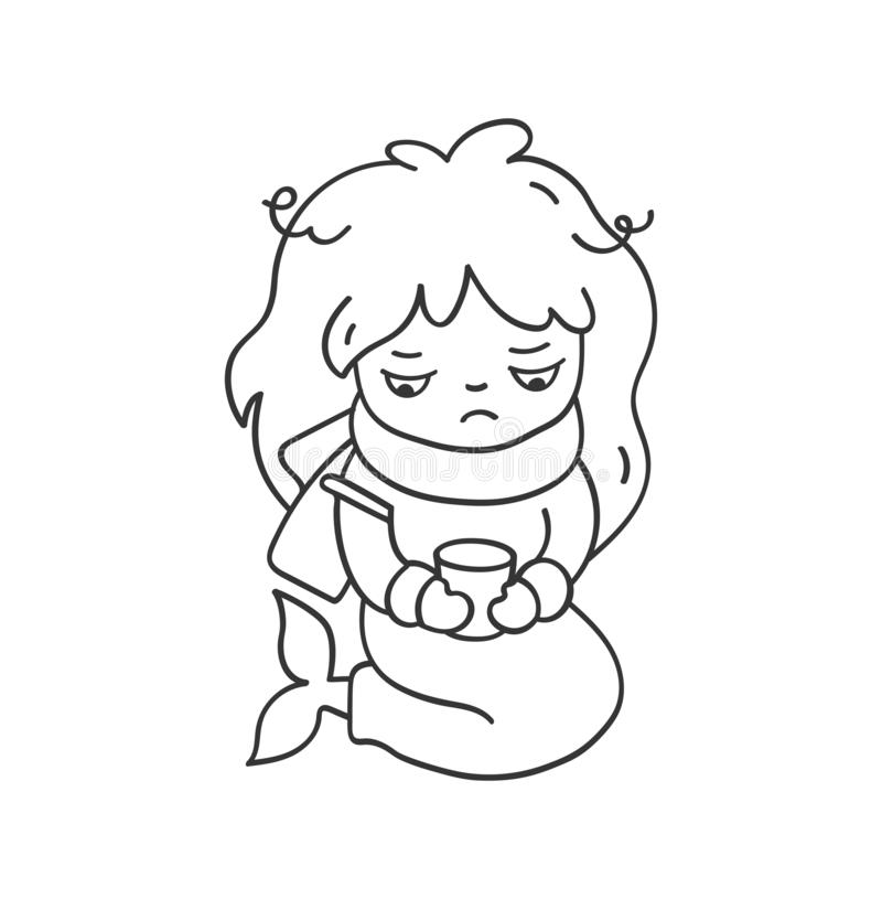 Sick sad mermaid with a thermometer and scarf. Cute cartoon character for emoji, sticker, pin, patch, badge. royalty free stock images
