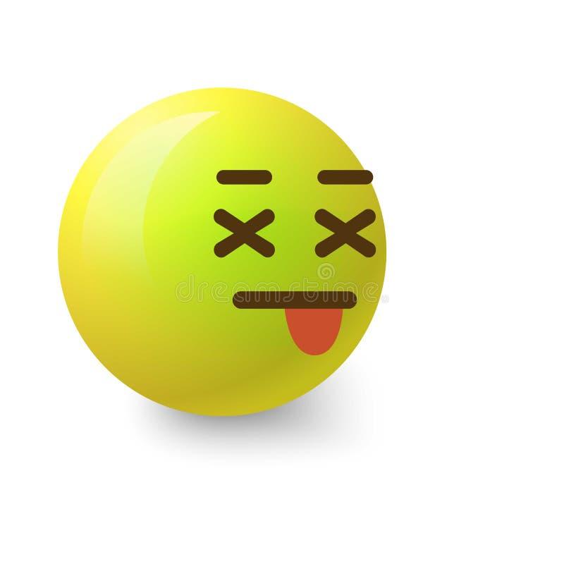 Sick smiley icon, cartoon style. Sick smiley icon. Cartoon illustration of sick smiley vector icon for web royalty free illustration