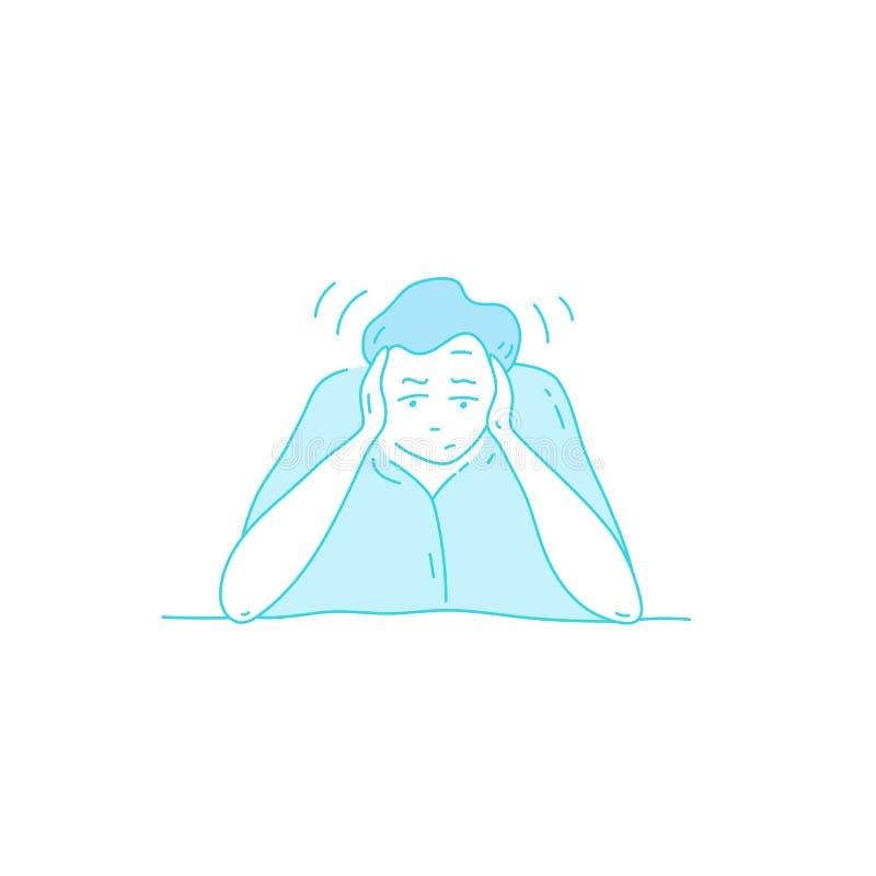 Sick stressed dizzy person Vector hand drawn illustration stock illustration