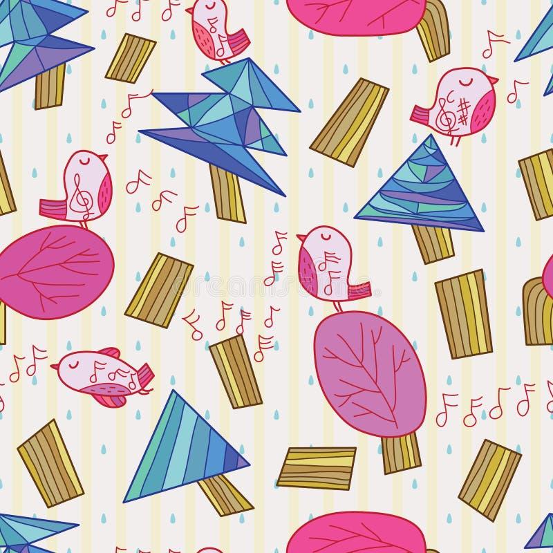 Sick stroke zen natural bird sing tetanus seamless pattern. This illustration is design abstract sick stroke natural plant and tetanus noisy singing bird zen in vector illustration