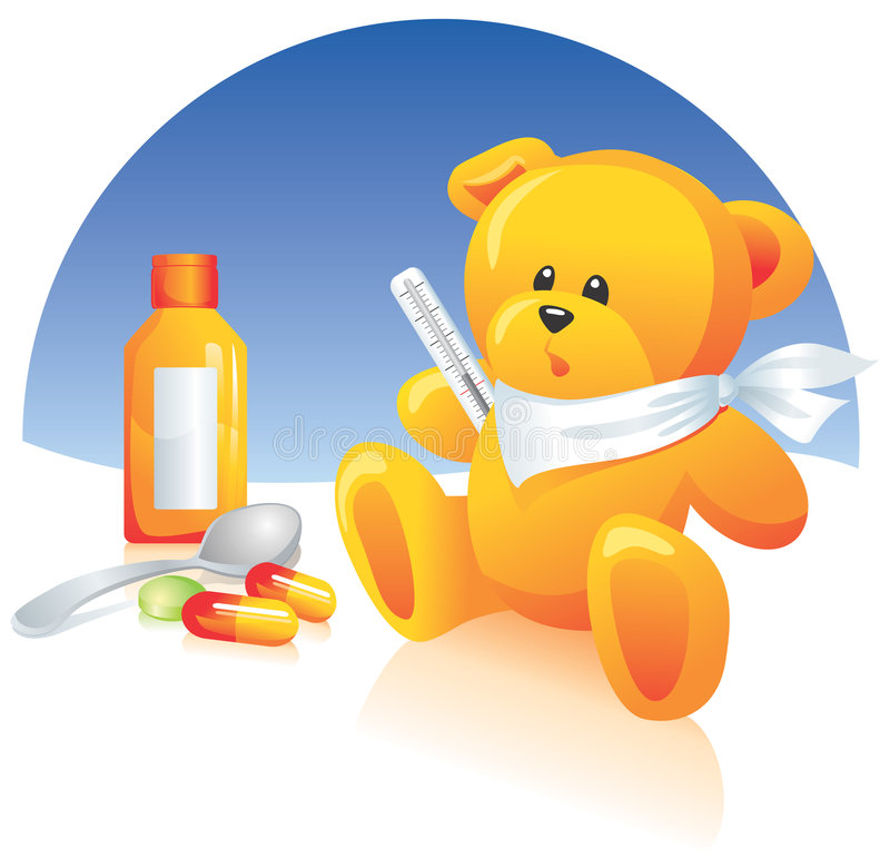 Download Sick Teddy bear, medicines stock vector. Image of pharmaceuticals - 4308343