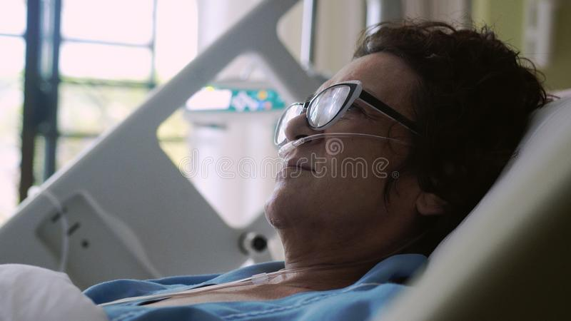 Patient Wearing Anesthesia Mask At Hospital. Stock Image