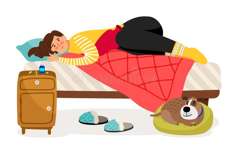 Sick woman in bed. Menstrual pain, woman health vector concept. Illustration of woman ill, person character illness in bed vector illustration