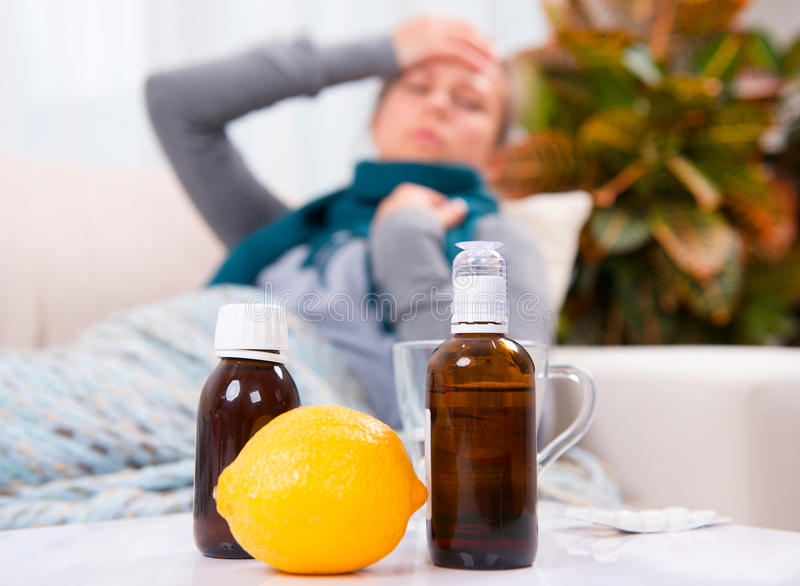Sick Woman Caught Cold royalty free stock photos
