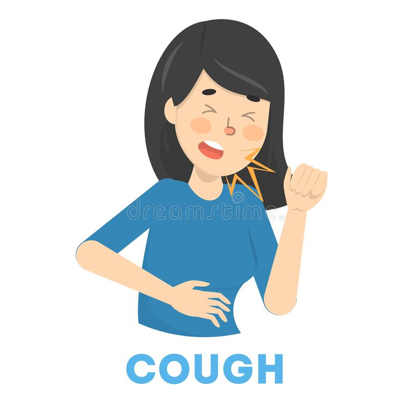 Sick woman cough. Female person with flu. Or cold. Sick girl. Flat vector illustration vector illustration
