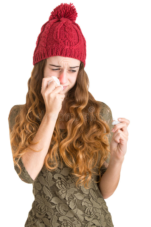 Sick Woman With Fever royalty free stock photography