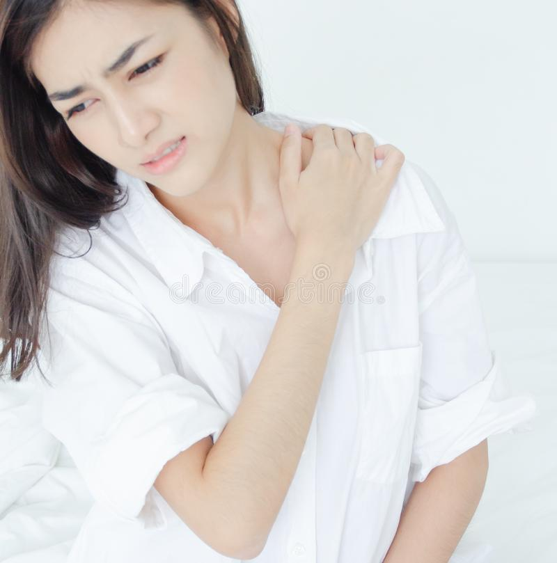 Sick woman with pain royalty free stock photography