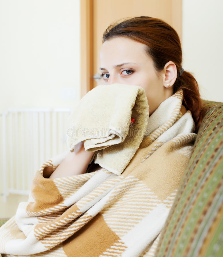 Download Sick woman in plaid stock image. Image of female, cough - 32803491