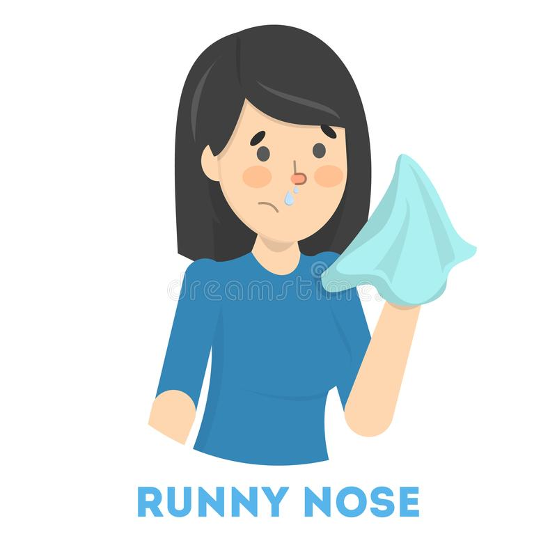 Sick woman with runny nose a symptom of flu royalty free illustration