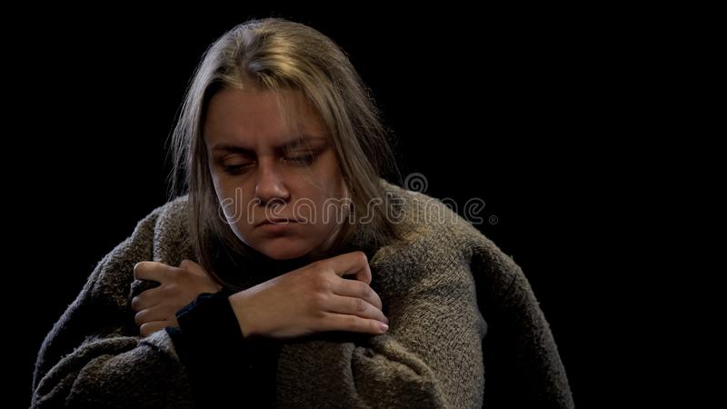 Sick woman suffering drug withdrawal symptoms, miserable life, harmful addiction royalty free stock image