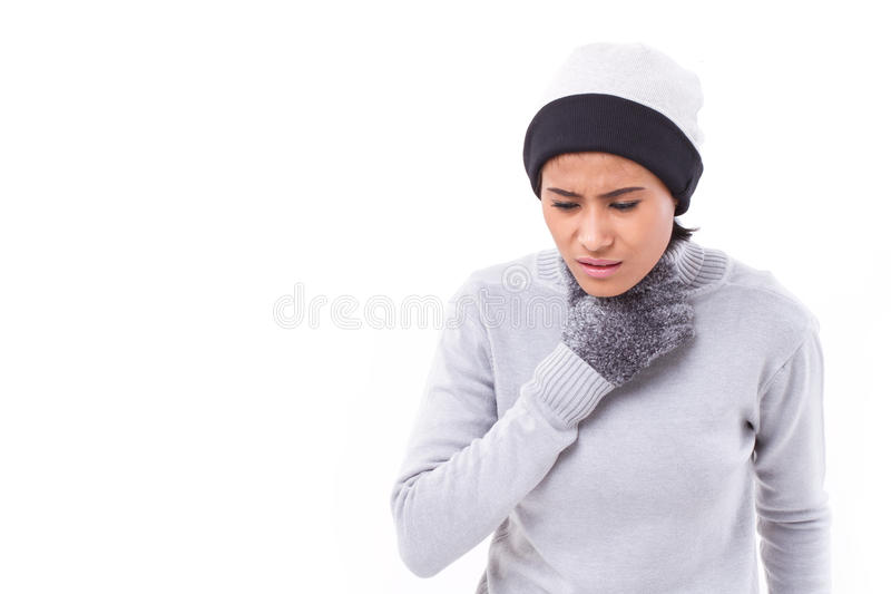 Sick woman suffering from sore throat stock photos