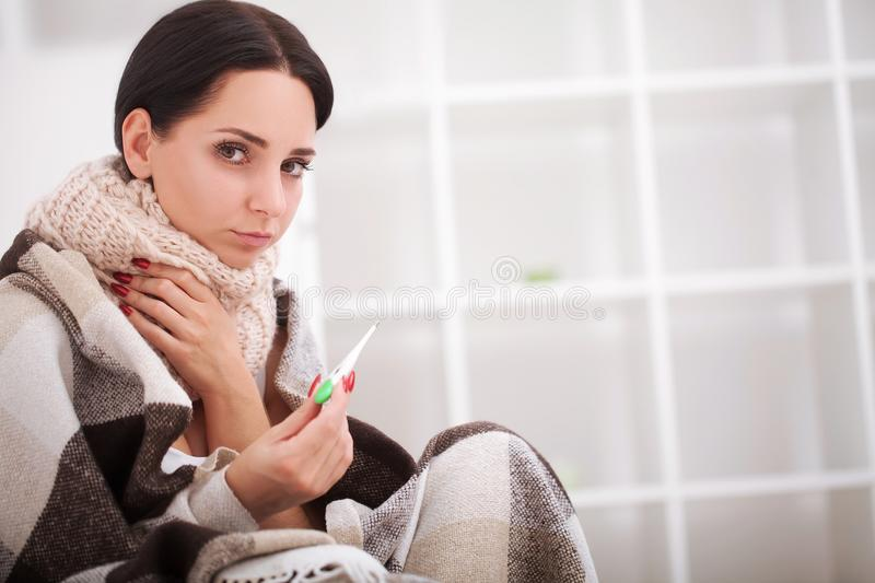 Sick Woman with Thermometer. Flu. Woman Caught Cold.  stock image