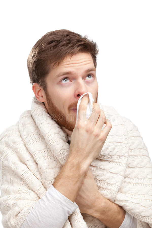 Download Sick Young Man Holding Wipes Royalty Free Stock Image - Image: 26597636