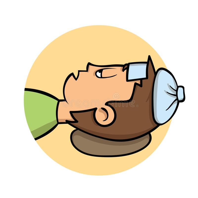 Sick young man lying down with ice pack on his head. Side view, profile. Fever, temperature. Cartoon design icon. Flat vector illustration
