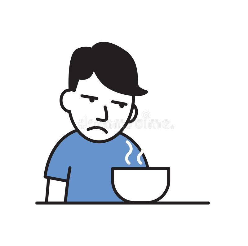 Sick young man with no appetite in front of the meal. Flat vector illustration. Isolated on white background. royalty free illustration