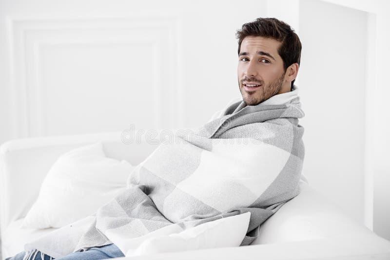 Unhealthy young man stock image