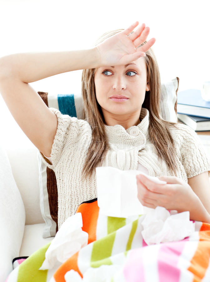 Download Sick Young Woman Having Fever Lying On The Sofa Stock Photo - Image: 15428176