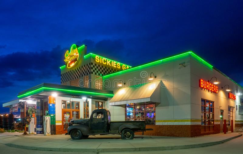 Sickies Garage at night, Rapid City, SD. stock images