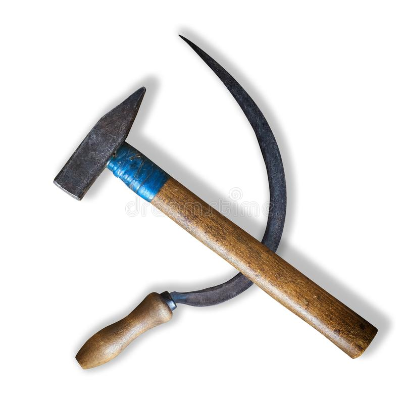 Sickle and hammer lying as the soviet communist symbol isolated on white background royalty free stock image